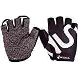 BOODUN Unisex Cycling Gloves, Black & White, Large