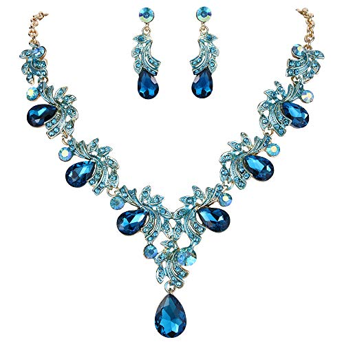 BriLove Wedding Bridal Necklace Earrings Jewelry Set for Women Crystal Teardrop Filigree Leaf Twig Enamel Statement Necklace Dangle Earrings Set Blue Topaz Color Gold-Toned