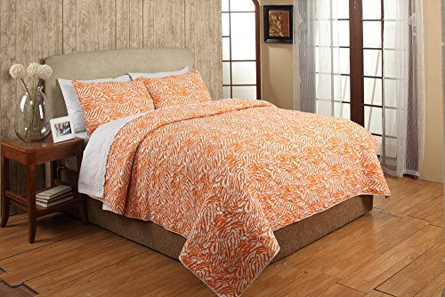 (Be-You-tiful Home CC813KSET Penelope Quilt Set Orange, King)