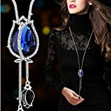 Dolland Women's Gold Plated Teardrop Crystal Pendant Necklace Earrings Set Wedding Bridal Jewelry Sets,Blue
