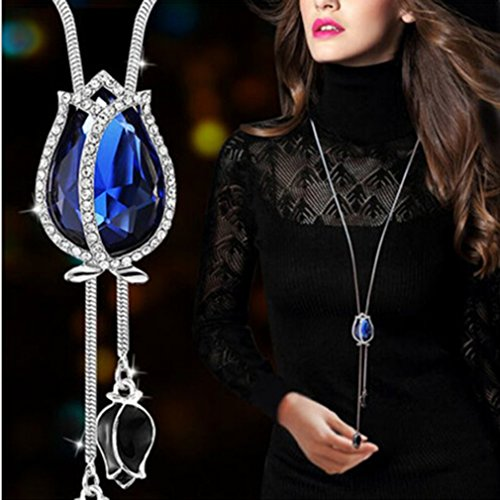 (Dolland Women's Gold Plated Teardrop Crystal Pendant Necklace Earrings Set Wedding Bridal Jewelry Sets,Blue)