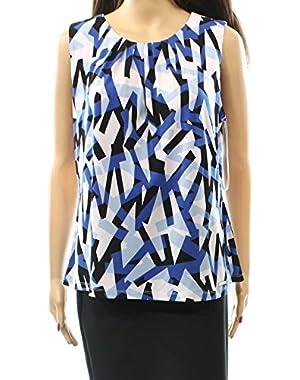 Calvin Klein Womens Large Petite Geo-Print Tank Blouse Blue PL