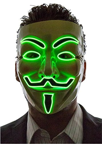 [Alohaa Halloween Mask, Men's Light Up V for Vendetta, Guy Fawkes Mask, One Size(green)] (Anonymous Man Costume)