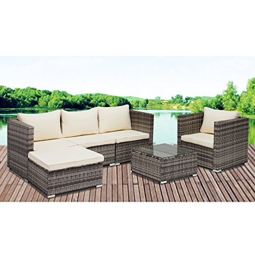 GTM 6PC Rattan Wicker Outdoor Funiture Set Sectional Garden Sofa,Gray (Sectional Furniture Sale On Outdoor)