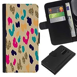 For LG G3 Case , Gold Leopard Animal Pattern Cheetah - la tarjeta de Crédito Slots PU Funda de cuero Monedero caso cubierta de piel
