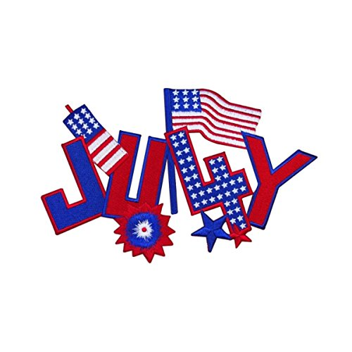 ID 5047 4th of July Large Patch Celebrate America Embroidered Iron On -