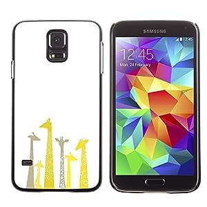 X-ray Impreso colorido protector duro espalda Funda piel de Shell para SAMSUNG Galaxy S5 V / i9600 / SM-G900F / SM-G900M / SM-G900A / SM-G900T / SM-G900W8 - Giraffe Drawing Minimalist Clean White