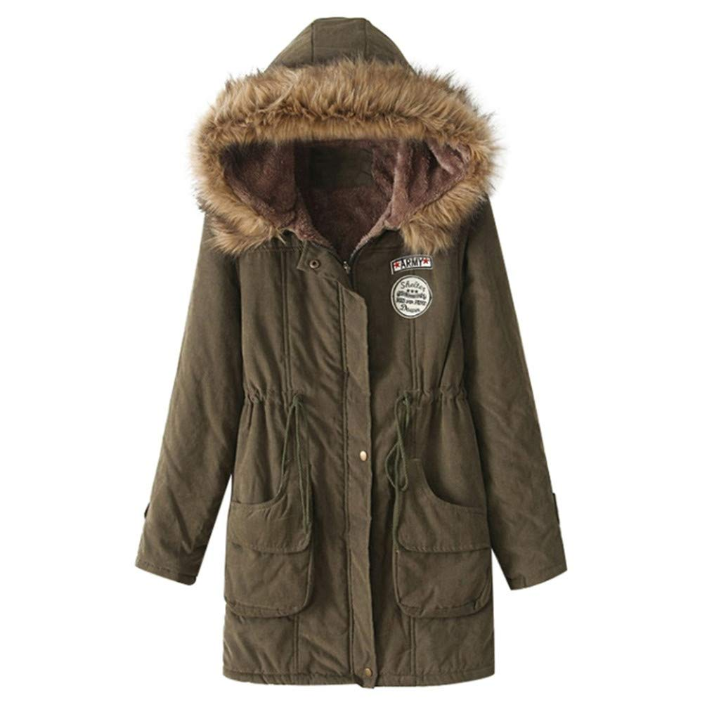 Army Green KIOWER Women Cotton Jackets Faux Fur Winter Thicken Long Warm Slim Parka Coat