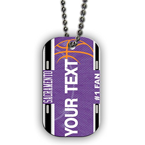 BRGiftShop Customize Your Own Basketball Team Sacramento Single Sided Metal Military ID Dog Tag with Beaded Chain