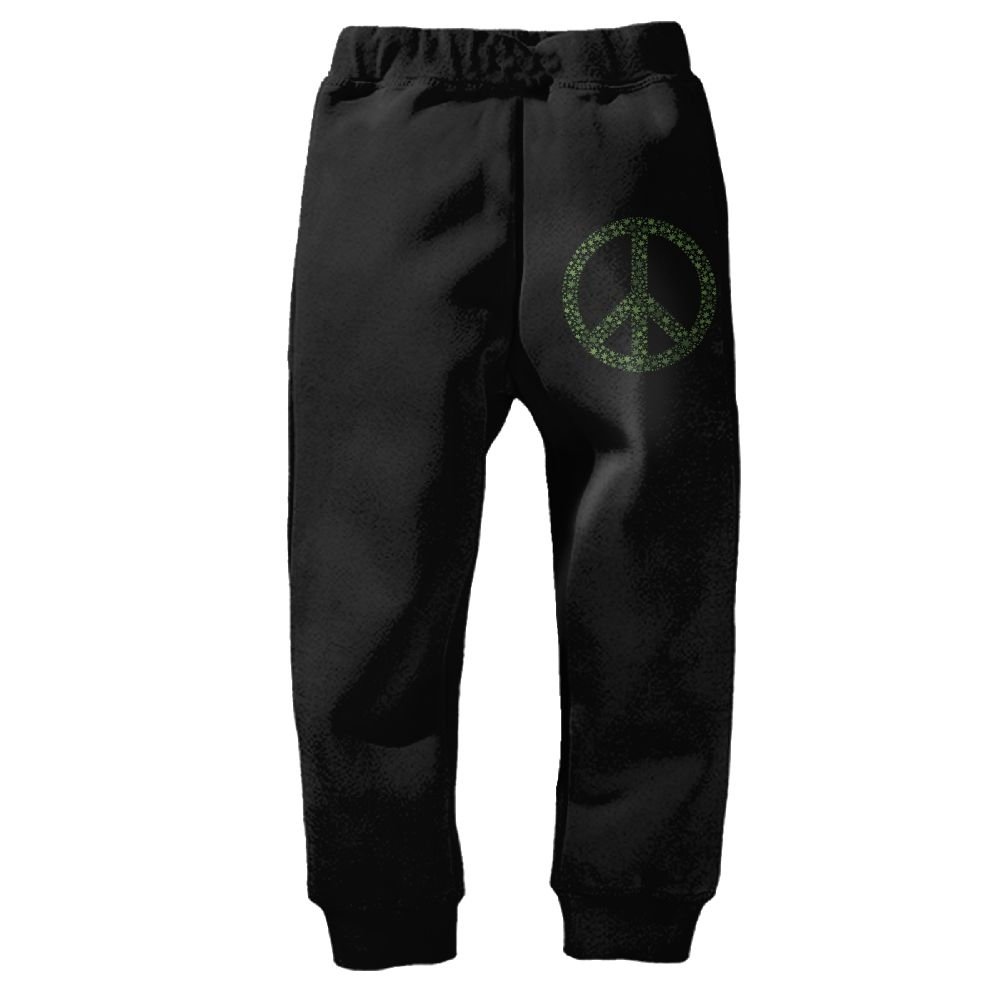 YE9WU Peace Sign Children Toddlers Sport Jogger Long Pants Sweatpants for 2T-6T