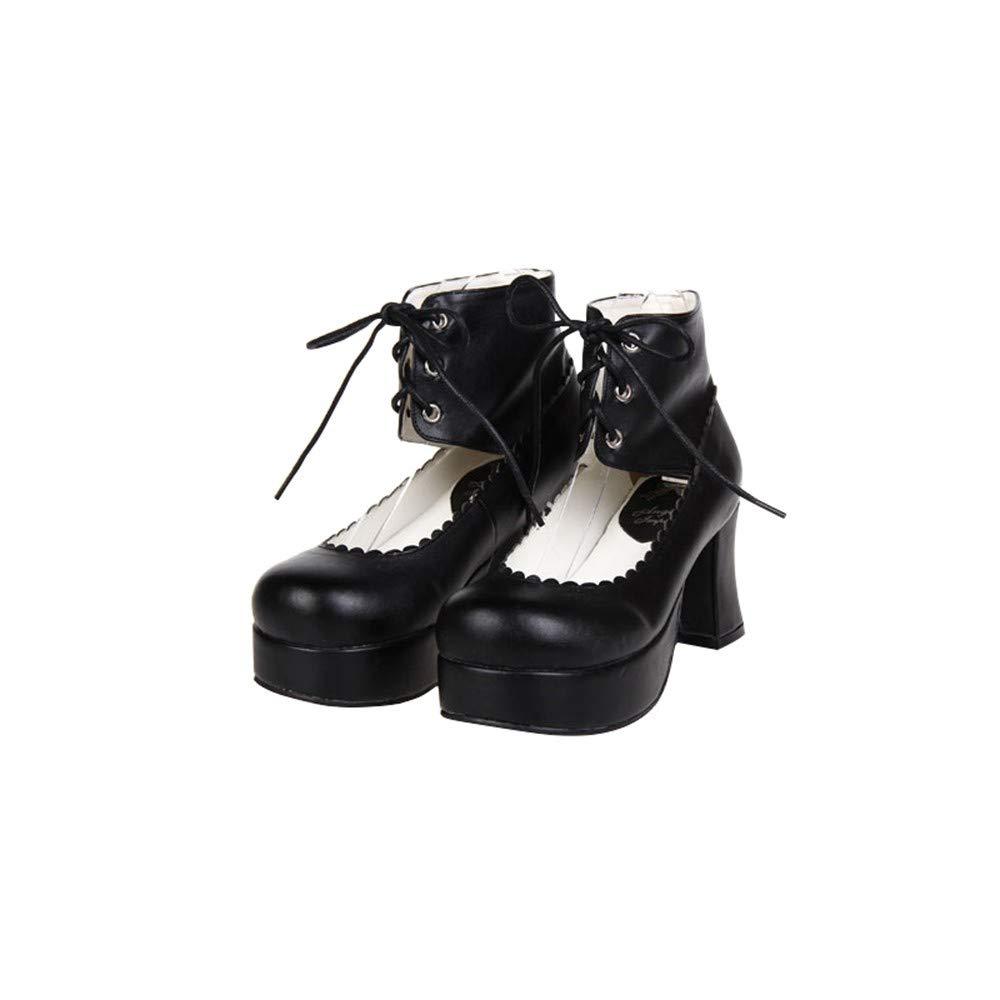 PINGXIANNV Lolita Frauen Schuhe Absatz Spitze Dicken Absatz Schuhe Kleid Prinzessin Schuhe Klassische Schuhe Schwarz d29dcd