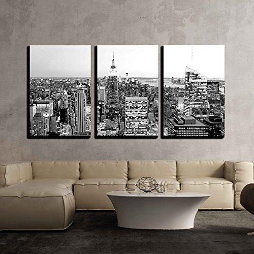Aerial View of Manhattan New York City Usa x3 Panels