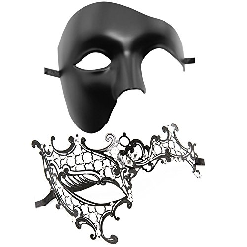 Couple's Venetian Masquerade Mask Set Luxury Style Princess Party Mask