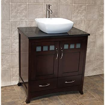 bathroom vanity cabinet black stone granite top ceramic vessel sink small glass wall mount combo set single vanities sinks sets