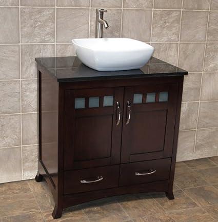 Etonnant ELIMAXu0027S Solid Wood 30u0026quot; Bathroom Vanity Cabinet Ceramic Top Sink  Faucet (Black ...