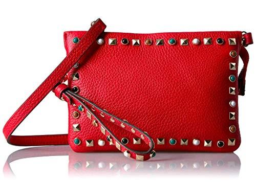 VINCE CAMUTO Tysa Red Flame Leather Studded Crossbody Handbag