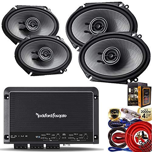 R250X4 Prime 250 Watts 4-Channel Amplifier + (4) Kenwood KFC-D681C 6x8 360W 2-Way Speaker + Amp Kit ()