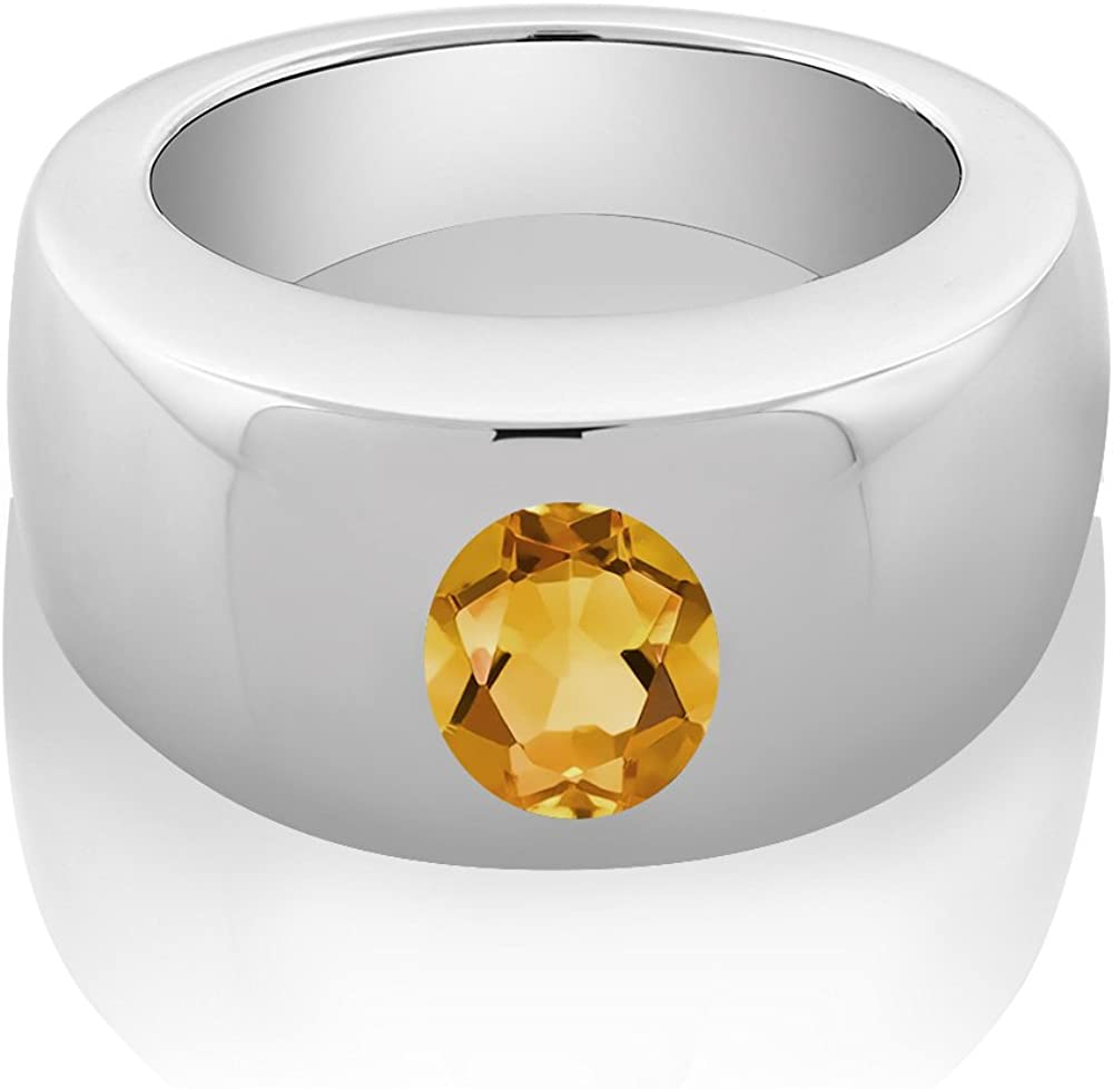 Gem Stone King 1.50 Ct Oval Yellow VS Citrine 925 Sterling Silver Mens Solitaire Ring