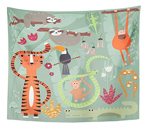 Emvency Tapestry Artwork Wall Hanging Green Jungle Collection of Cute Rain Forest Animals Tiger Snake Sloth Monkey 50x60 Inches Tapestries Mattress Tablecloth Curtain Home Decor Print