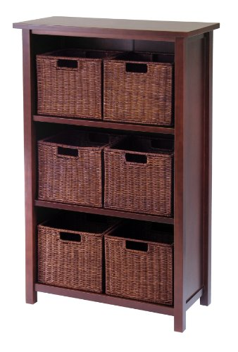 Winsome Wood Milan Wood 4 Tier Open Cabinet in Antique Walnu