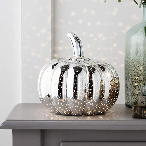 - Silver Battery Operated LED Halloween Thanksgiving Pumpkin Light Party Decoration