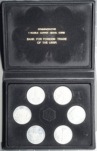 RU 1980 Bank For Foreign Trade of USSR, 6 Coin 1 Rouble Commemorative Olympic Set, OGP Brilliant Uncirculated