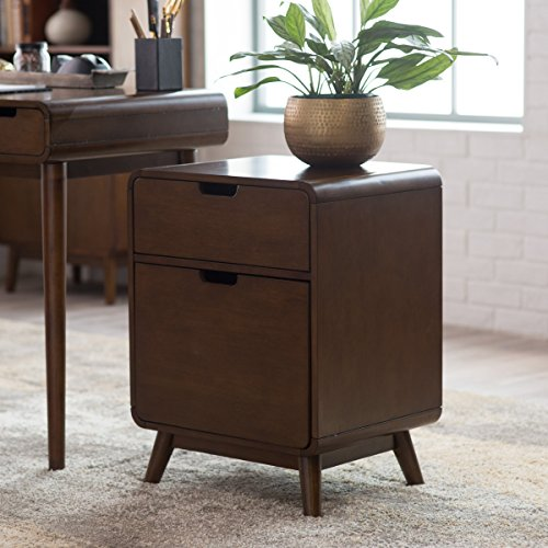 Belham Living Carter Mid-Century Modern Two-Drawer File Cabinet, Durable Strong Wood Material, Walnut Finish 2 Drawer Birch Cabinet
