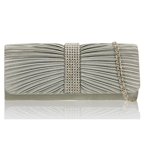 Diamante Party Clutch Grey Ladies Zarla Shoulder Bridal Satin Women Prom Handbags Designer Pleated Bags nUOv8O