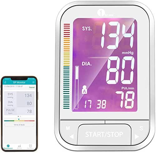 1byone Blood Pressure Monitor, Large Upper Arm Cuff and Bluetooth Digital BP Monitor with Large 4.7 Inch Screen and Free Health Records App