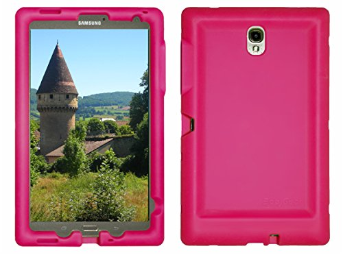 Bobj Rugged Case for Samsung Galaxy Tab S 8.4 Tablet Models SM-T700, SM-T705 - BobjGear Custom Fit - Patented Venting - Sound Amplification - BobjBounces Kid Friendly (Rockin' Raspberry)