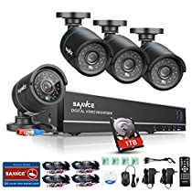 SANNCE 8CH 720P Complete Security Camera Surveillance DVR with 1 TB Hard Drive (4) HD 720P Outdoor Fixed Bullet Cameras, IP66 Weatherproof, Super Day/Night Vision