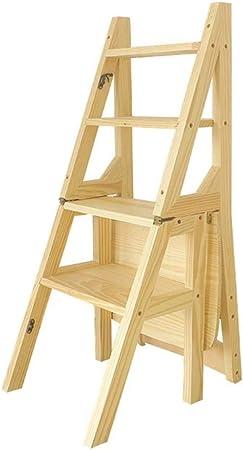 XITER Sillas de Escalera Escalera Plegable Taburete Escaleras de Mano Madera, hogar/Cocina/Estantería de Escalera Exterior o Escalera de Escalera Sillas: Amazon.es: Hogar