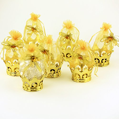 JC HUMMINGBIRD 12PC Gold Crown Pouch Fillable for Candies, Table Decorations, Party Favors, Keepsake, Baby Shower -
