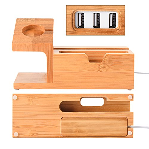 Hunter-K Apple Watch Stand, Bamboo Wood Charging Station With 3 USB Ports For Iphone 7/7Plus/6s/6/Plus/5s, Iwatch 38mm/42mm, Samsung ,Cell Phone& Most Smartphones Android