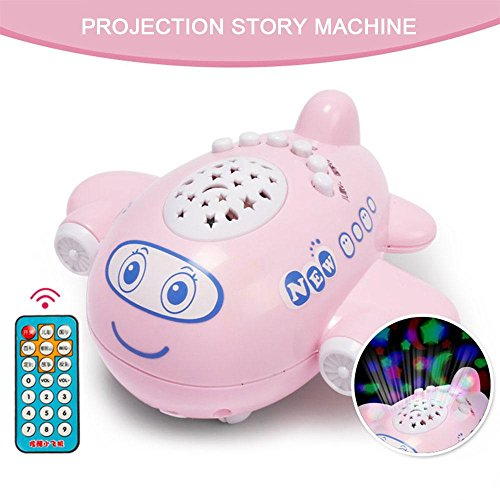 Baby Toys Projector Lamp Aircraft Music Story Multifunction Cute Shape Appease Plane Educational Developmental Night Gadget Dark (Pink) by FuNiu