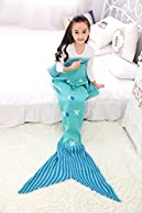Kiddom Mermaid Tail Blanket All Season Knit Crochet Striped Thicken Sofa Sleeping Bag Green