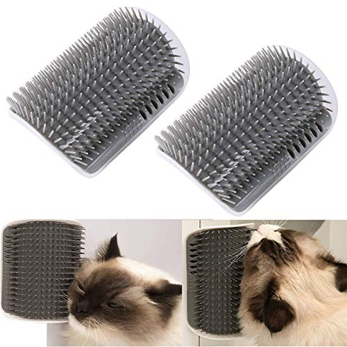 (VintageBee 2 Pack Pet Brush Massage Perfect Tool for Cats with Long and Short Fur, Cat Self Groomer with Catnip)