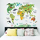 Hatop Variety Animals World Map Wall Decals Sticker Review and Comparison