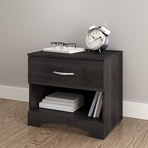 South Shore Step One 1-Drawer Nightstand, Gray Oak with Matte Nickel Handles (One Drawer Stand)