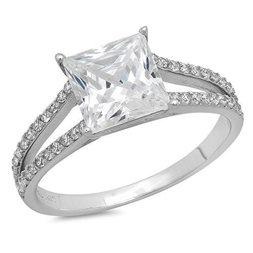 (Clara Pucci 2.32 CT Princess Cut Pave Engagement Wedding Promise Bridal Ring Band 14k White Gold, Size 6 )