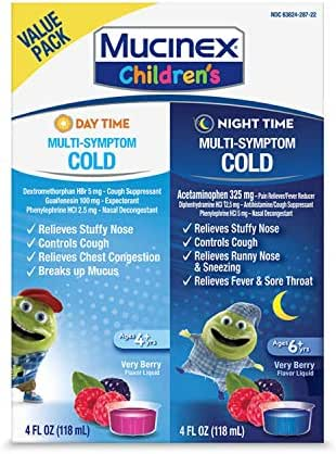 Cold & Cough, Mucinex Children's Multi-Symptom Day/Night Liquid, Very Berry, 8oz (2x4oz)
