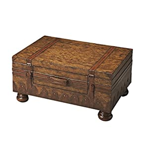 Trunk Coffee Table W Leather Appointments World Map Kitchen Dining