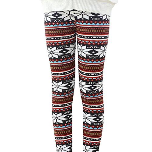 Bjinxn Girls Winter Thick Warm Long Pants Printing Fleece Lined Leggings 120 white snowflake