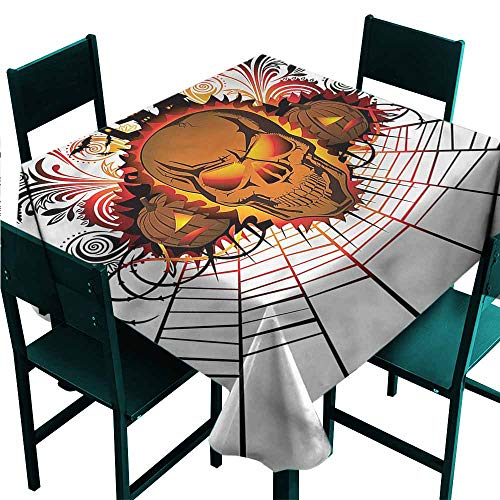 DONEECKL Easy Care Tablecloth Halloween Skull Witch Great for Buffet Table W60 xL60]()