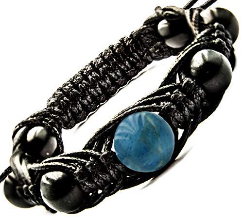 Wallystone Gems Arachne Bracelet Shungite Natural Shungites and Gemstone Beads (Apatite)