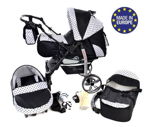 Sportive X2, 3-in-1 Travel System incl. Baby Pram with Swivel Wheels, Car Seat, Pushchair & Accessories (3-in-1 Travel System, Black & Black Polka Dots)