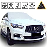 Silver Windshield Cover Snow Ice Frost Rain Resistant, Waterproof Windproof Dustproof Outdoor Car Covers