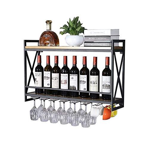 (L.HPT Wine Rack Storage, Metal Wall Holder Vintage Wine Bottle Holder Wood Wall mounting Rustic Wine Shelf Storage Organizer Rack (Size : 80x20×52cm))
