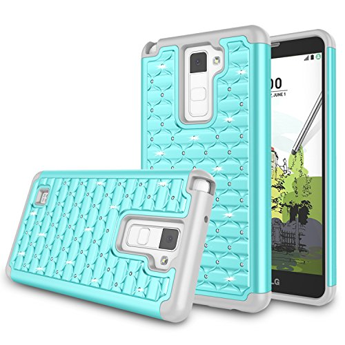 - LG Stylus 2 Plus Case, LG Stylo 2 Plus Cover, Jeylly Bling Crystal Studded Rhinestone Hybrid Dual Layer Armor Defender Shockproof Protective Case for LG Stylo 2 Plus/LG Stylus 2 Plus/K530 - Turquoise