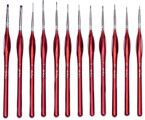 Detail Brush Set - 12 Professional Synthetic Miniature Brushes with Fine Points & Comfortable Triangular Handles | Detailed Painting Tools for Acrylic, Watercolor, Oil & Mini Art